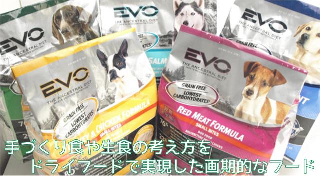 犬のプレミアムフード、おやつなどを販売する犬とオーナーのためのお店「DOG LIFE PLUS」の販売するエボについてのご紹介です